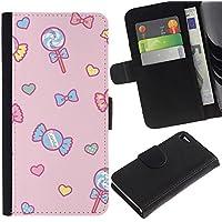 Paccase / Portafoglio del Cuoio di vibrazione del Titolare della carta Custodia per - candy lollipop heart valentines pink - Apple Iphone 4 / 4S