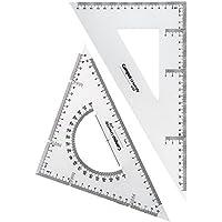 Campus University 6430/600096 - Set da disegno, squadra con triangolo e squadra con goniometro, 30 cm