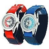 2 X Montre Pédagogique Relda Enfant Bracelets Velcros Rouge/Bleu Cadran à Quartz