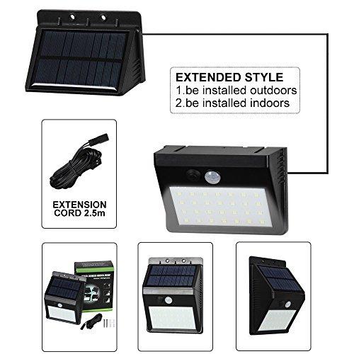 T-SUN Foco Solar Exterior, Luz de Pared al Aire Libre de 28 LED, Luces Solares con Sensor de Movimiento, Gran Ángulo 120°, Luces Solares de Seguridad con3 modos inteligentes para Terraza, Garaje, Camino de Entrada- instalado por separado para exterior / interior, Blanco Frio 6000K.(Pack de 1)