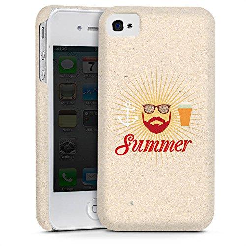 Apple iPhone 4 Housse Étui Silicone Coque Protection Été Hipster Barbe Cas Premium mat