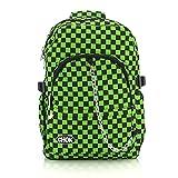Checker-Negro y Verde-Mochila con protección de portátiles   Escuela College Viaje Trabajo   cuadros Rock fangbanger Emo Skate   Chok