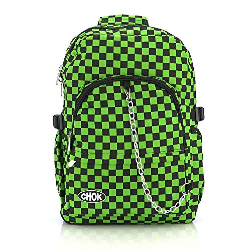 CHECKER BLACK & GREEN BACKPACK RUCKSACK SKATEBOARD BAG with LAPTOP PROTECTION | School College Travel Work | Check Goth Rock Emo Skate | ()
