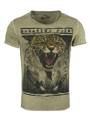 Key Largo Herren T-Shirt TONI TIGER Jaguar Print Vintage Look Triangle Dreieck Safari Animal Tier Sommershirt khaki M (Print Tiger T-shirt)