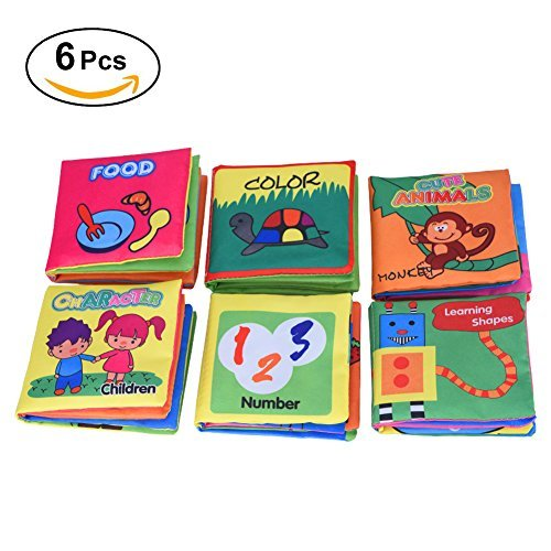Yosoo 6 Libros de Tela para Bebé/ Libros de Texturas de Bebé,Idioma Inglés ,Juego para Preescolar