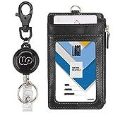 Wisdompro® Kartenetui für Ausweis aus PU-Leder mit doppelseitigem vertikalem Reißverschlussfach und Schlüsselanhänger - mit robuster ausziehbarer Rolle.