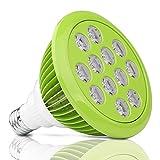 Imurz Pflanzenlampe E27 12W LED Grow Plant Lamp vollspektrum Wachstum Tageslicht Pflanzenleuchte für Garten Gewächshaus Zimmerpflanzen Blüte Blume und Gemüse[Energy Class A]