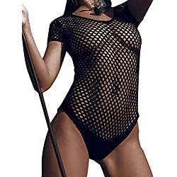Loralie Maillot de Bain Femme 1 Pièce Ajouré Manches Courtes Combinaison Sexy Erotique Résille Fishnet Mesh Coquine Noir (S)