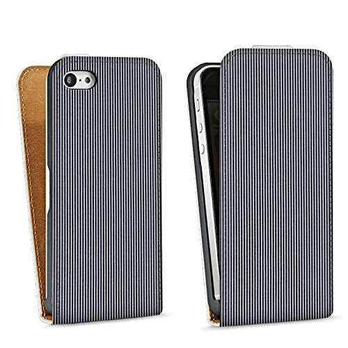 Apple iPhone 5s Housse Étui Protection Coque Motif Motif Look jeans gris Sac Downflip blanc