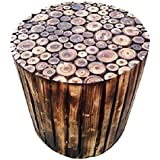 CloudNet India Wooden Beautiful Handmade Log Stool for Living Room, Farm House (Brown, Round 16-inch)