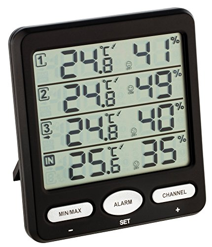 TFA Dostmann Funk-Thermo-Hygrometer Klima-Monitor TFA 30.3054 Raumklimakontrolle (schwarz)