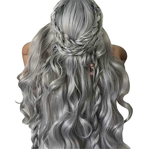Graue lange lockige Perücken synthetische lange Welle Lace charmante natürliche Frisur hitzebeständige hohe Dichte geeignet für Alltag, Party, Kostüm, Berühmtheit, Halloween etc
