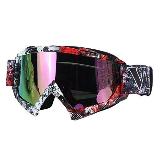 CAMTOA Sportbrille UV Schutz Motorrad Goggle Motocross,Wind Staubschutz Fliegerbrille Snowboardbrille Schneebrille Skibrille Dirtbike Off-Road Schutzbrille Wintersport Brille für Damen Herren