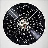 jjdp Reloj De Pared Zodiac Signs Vinyl Record Reloj De Pared Emocionante Decoración De La Habitación De Huéspedes