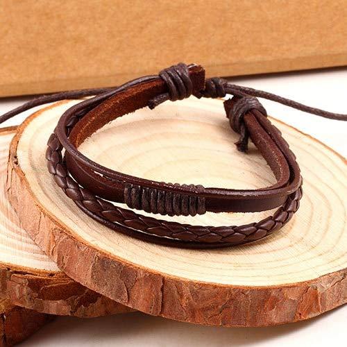 ALUN Armband Braid Leather Wrap Chain Bracelet SchmuckHerren Rope BraceletsWristband Brown Multilayer (Braid Halskette Herren)