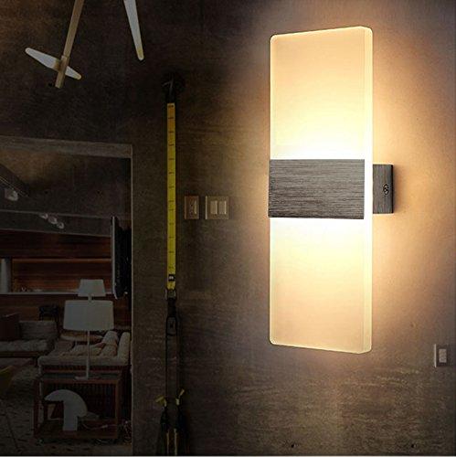 Preisvergleich Produktbild 6W LED Wandleuchten Innen aus Aluminium Kreative minimalistische für Wohnzimmer Schlafzimmer Arbeitszimmer Hotel Flur LED-Acrylwandlampe Warmweiß [Energieklasse A+] gebürstetes Silber + Rechte Winkel 85V~265V
