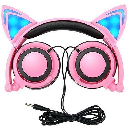 Auriculares con cable de diadema de orejas de gato plegables con luz LED para niños. Compatible con reproductores MP3,MP4 y teléfonos iPhone 6S, Android rosa
