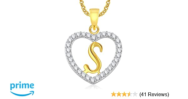 eea53768c3d0b Buy Meenaz Jewellery Gold Plated  s  Letter Pendant For Girls Women Men  Unisex With Chain In American Diamond Pendant For Women Online at Low Prices  in ...