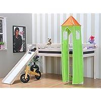 Preisvergleich für Thuka Kinder Turm Spielturm für Kinderbett Hochbett Rutschbett Bett grün orange