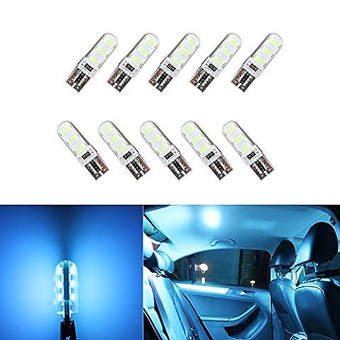S & D 10x T10W5W COB Carte du gel de silice Ampoules LED lumière–Lampe LED Canbus sans erreur dc-12V Glace Bleu
