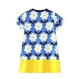 JERFER Mädchen Cartoon Vogel Druck Stickerei Streifen Kleid T-Shirt Top Bluse Kurzarm-Shirt 2- 6Jahre (Gelb, 5T)