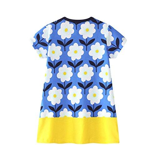 JERFER Mädchen Cartoon Vogel Druck Stickerei Streifen Kleid T-Shirt Top Bluse Kurzarm-Shirt 2- 6Jahre (Gelb, 5T) (High-und Low-kleider Für Mädchen)
