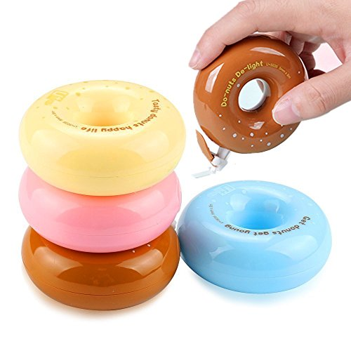 (Shulaner Korrekturroller Maccaron Donuts Korrekturroller 8mx5mm Correction Tape, Korrekturmaus 4 Stück)