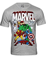 Marvel Comics - The Avengers Herren T-Shirt - Thor Hulk Spiderman Iron Man (Hellgrau) (S-XXL)
