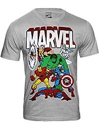 Marvel Comics - The Avengers Herren T-Shirt - Thor Hulk Spiderman Iron Man (Hellgrau) (S-XXL)