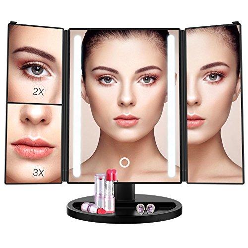BESTOPE Schminkspiegel 1x/2x/3x Vergrößerung mit 24 Leuchtmittel Kosmetikspiegel Beleuchtet Makeup Spiegel Touchscreen, Batterie und USB-Netzteil, 180 °Einstellbare Aufsatz-Tischspiegel (Schwarz) Kleine Kristall-leuchte