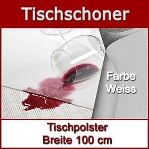 Tischpolster Breite 100 cm Länge wählbar Tischschoner Tischdecke Unterlage Weiss Breite x Länge wählbar - Länge 200 cm