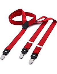 DonDon® Herren Hosenträger schmal 2,5 cm – 3 Clips in Y-Form – elastisch und längenverstellbar in verschiedenen Designs