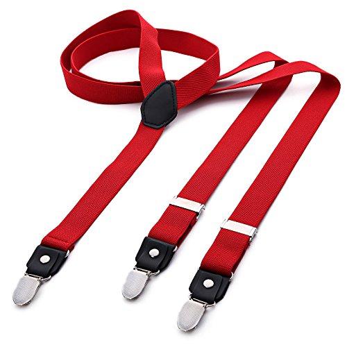 DonDon® Herren Hosenträger schmal 2,5 cm – 3 Clips in Y-Form – elastisch und längenverstellbar rot