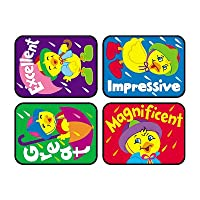 100 x Dazzling Ducks, Positive Words Teacher Reward Stickers for Children