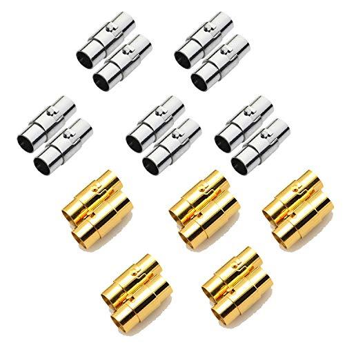 REKYO 20sets Leder Schnur Ende Kappe/Magnetverschluss mit Sperren Mechanismus Leder Seil Armband Schnalle Silber und Gold(4MM) (Fügen Sie Gold Perlen-halskette Eine)