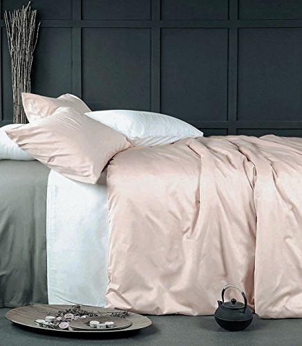 Rose Gold Bettbezug Luxus Bettwäsche Set Hohe Fadenzahl Ägyptische Baumwolle Satin Seidig Weich Blush Pale Pink festen farbigen, baumwolle, Rose Dust, King Size -