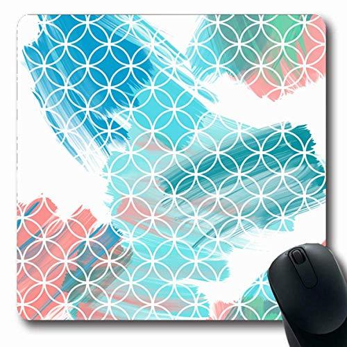 Sashiko-designs (Luancrop Mauspads für Computer Liquid Blue Artistic Abstract Sashiko Modern Brush Celebration Zeitgenössisch Cooles Design rutschfeste, längliche Gaming-Mausunterlage)
