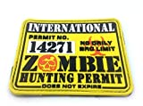 International Zombie Hunting Permit Yellow PVC Large Airsoft Patch