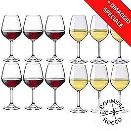 Collezione DIVINO Bormioli Rocco – Set 12 Calici Vino – N° 6 Divino Rosso 53 cl + N° 6 Divino Bianco 44 cl Eleganza a…