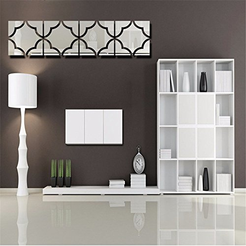 AdornHome Wandtattoo,Wandsticker,Wandaufkleber,3D-Acryl, Spiegel, an der Wand Aufkleber Quadrat Wohnzimmer Schlafzimmer Hintergrund Art Wall Sticker (4 Stück)
