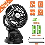 Fitfirst 5000mAh Rechargeable Battery Operated Clip on USB Desk Fan, Mini Portable Personal Fan for Baby Stroller, Car, Gym, Office, Outdoor, Travel, Camping