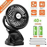Fitfirst Rechargeable Mini Clip 4400mAh Battery Fan, 360°Quiet Operation Fan with Power Bank