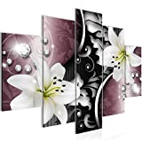 Bilder Blumen Lilien Wandbild 150 x 100 cm Vlies - Leinwand Bild XXL Format Wandbilder Wohnzimmer Wohnung Deko Kunstdrucke Rosa 5 Teilig -100% MADE IN GERMANY - Fertig zum Aufhängen 208053c