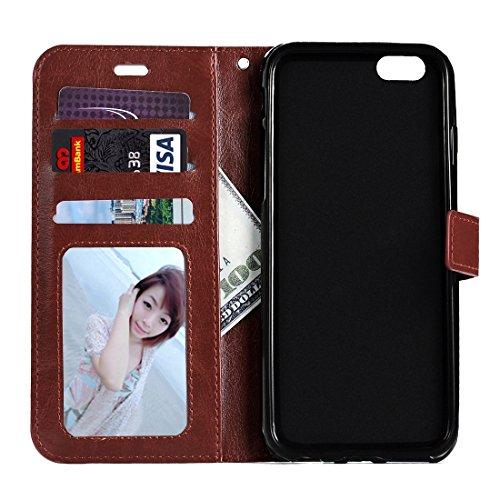 Wkae Case Cover Für iPhone 6 Plus &6s Plus-Crazy Horse Textur Horizontal spiegeln Ledertasche mit Magnetschnalle &Halter &Card Slots &Wallet &Bilderrahmen ( Color : Green ) Brown
