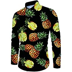 RAISEVERN Camisas Hawaianas de Tailandia para Hombres Camisas de Playa de Lujo con Manga Larga de piña Casul Top Navy