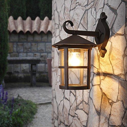 Wand-Laterne 34 cm/13,70 Ø | Außenleuchte rustikaler Landhaus-Stil | Wandlampe antik |...