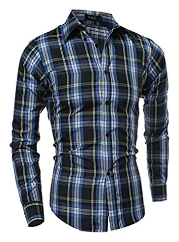 DD.UP Checkered À rayures Cotton Casual Slim Fit Chemise À