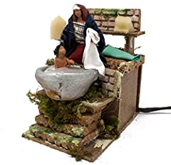 Idea Regalo - Joy Christmas Pastore per Presepe in Movimento 14 cm x 9 cm Donna Che Lava Bambino 37933