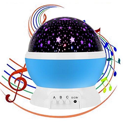 Stern-Nachtlicht-Projektor mit Musik, USB aufladbare Carryme 4 Modi Kinder Babys Kinderspielzeug Cosmos Rotating runde LED-Nachtlicht-Projektor-Lampe, Romantische Mond-Stern-Himmel Home Decor Schlafzimmer Tischlampe Blau (Lampe Nacht-zyklus)