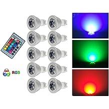 G-Anica® 10PCS 3W GU10 16 colores que cambian la bombilla del RGB LED de control remoto Iluminación para el hogar